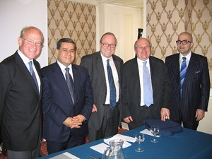 Sir Hilary Synott KCMG, Minister Falah Mustapha Bakir, Michael Ancram, Mike Gapes MP and Huseyin Gun