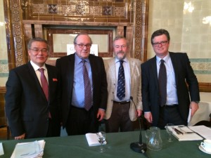 From l to r: HE Mr Hak Bong Hyon, Lord Lothian, Aidan Foster-Carter and Charles Scanlon